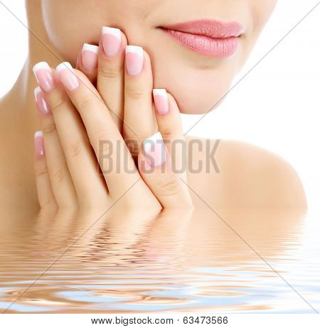 Part of female face and hands, white background, copyspace