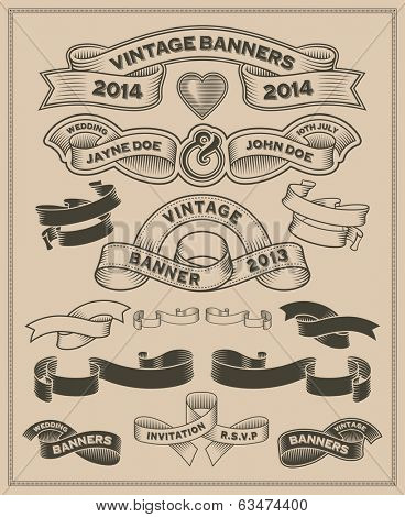 Vintage retro scroll and banner set - Vector design