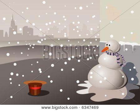 Snowman beggar