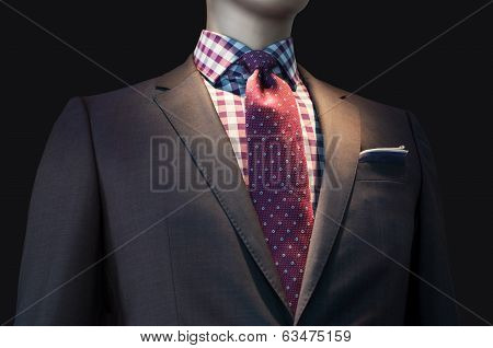 Brown Jacket With Checkered Shirt And Red Tie