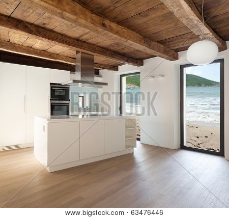 beautiful  loft, view domestic kitchen, modern furniture
