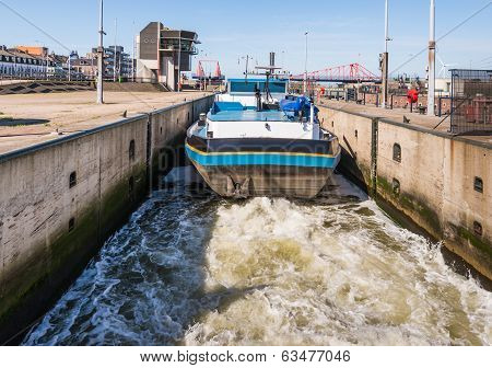 Barge In A Dutch Sluice