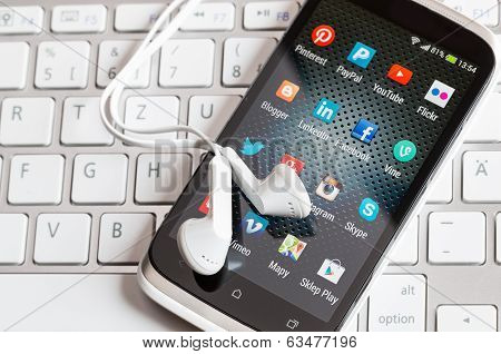 Social Media Icons On Smart Phone Screen