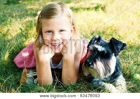 Laughing Girl And Her Trusty Miniature Schnauzer