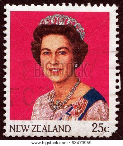 NEW ZEALAND, CIRCA 1965: Queen Elizabeth II on vintage postage stamp, circa 1965