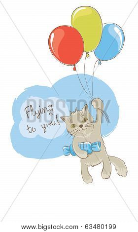Background with a cat flying on balloons