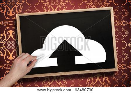 Composite image of hand drawing cloud computing with chalk on chalkboard with wooden frame