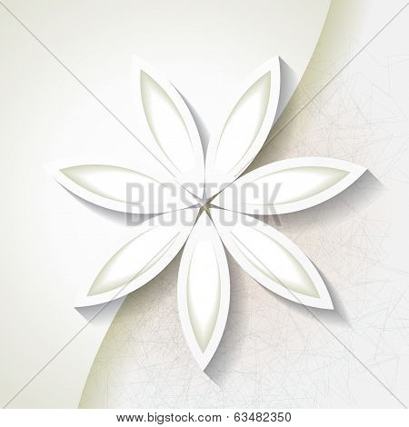 Minimalistic Background With White Origami Paper Flower. Eps10