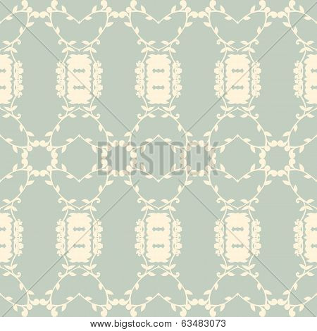 Neutral Floral Wallpaper. Plant Swirls And Curves