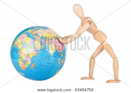 Wood Mannequin Push A World Globe In Disrespect Isolated
