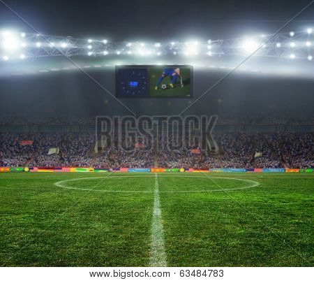 On the stadium. abstract football or soccer backgrounds