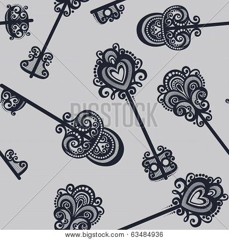 Seamless Ornate Pattern with Keys