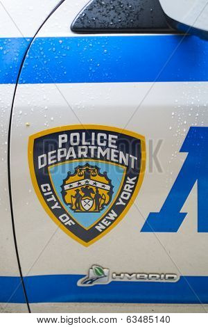 NEW YORK, US - NOVEMBER 22: Detail of door of New York Police car showing crest. November 22, 2013 in New York.