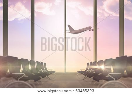Digitally generated airplane flying past departures lounge window