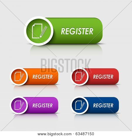 Colored rectangular web buttons register