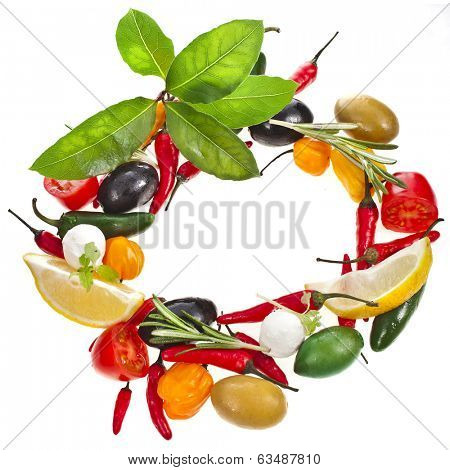 olives and variety vegetables and herb spice, frame with copy space isolated on a white background