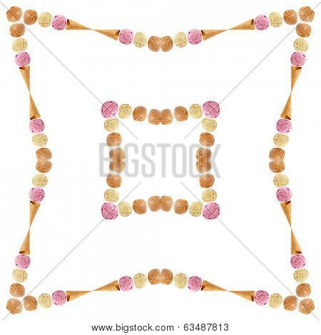Abstract frame decor of colored ice cream scoops with waffle cone isolated on white background
