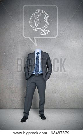 Composite image of headless businessman with globe in speech bubble in grey room