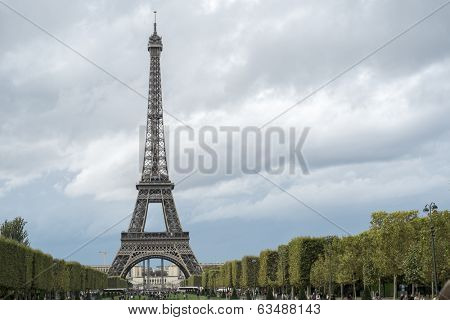 PARIS, FRANCE - OCTOBER 20: The Eiffel tower seen from Champ de Mars. October 20, 2013 in Paris.