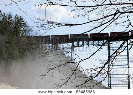 Train travelling over trestle