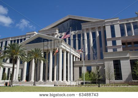 JACKSONVILLE, FL - APRIL 13, 2014: The new Duval County Courthouse in Jacksonville. Construction for the new courthouse began in 2009 and was completed in 2012.