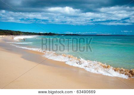 Big Beach On Maui Hawaii Island With Azure Ocean