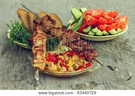 Stillife With Holiday Makers Menu Skewers With Vegetables