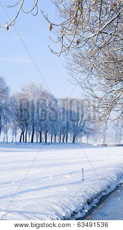 A Rural Road On A Dutch Dike,