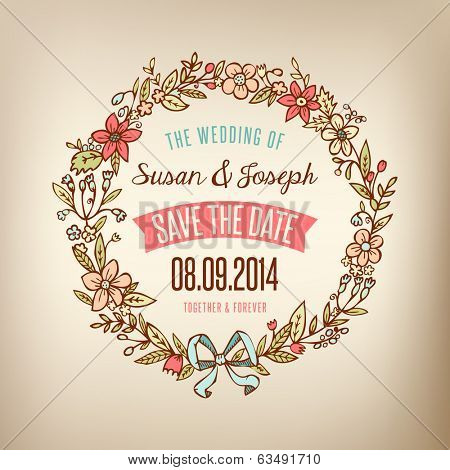 Wedding card with wreath