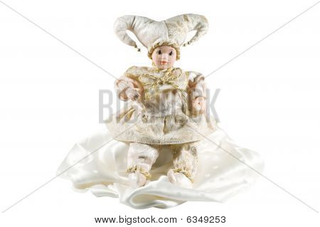 Photo Of Venice Carnival Doll Isolated Over White Background.