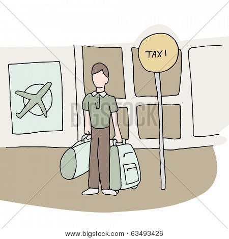 An image of man at airport waiting for a taxi.