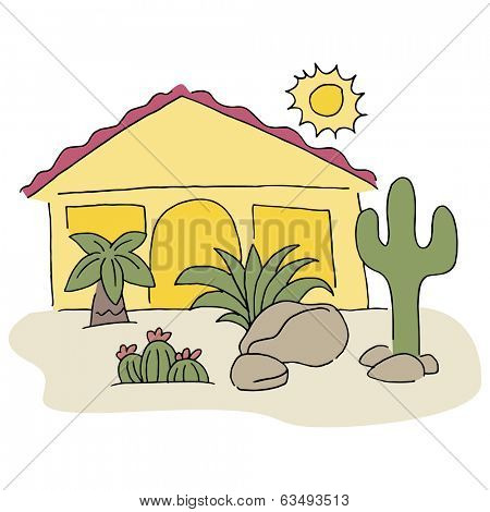 An image of a home with desert landscaping.