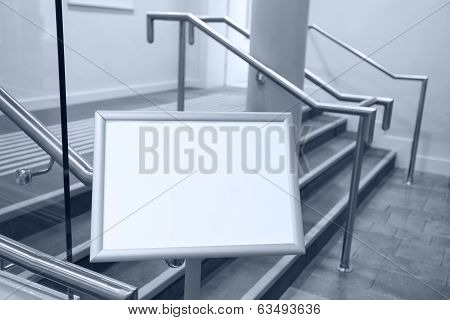Blank Billboard In The Room With Stairs.