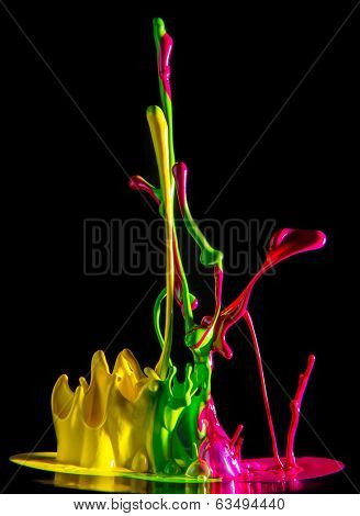 Colorful ink splash on a black background