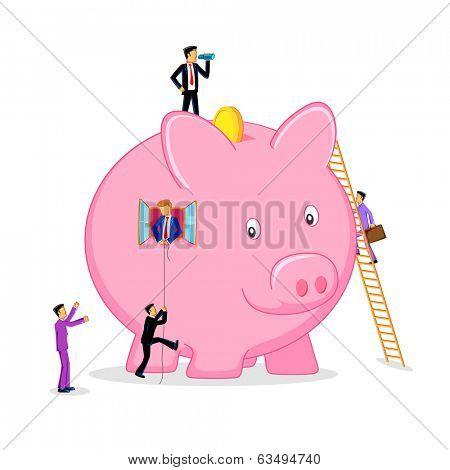 illustration of business people doing different activities on piggy bank