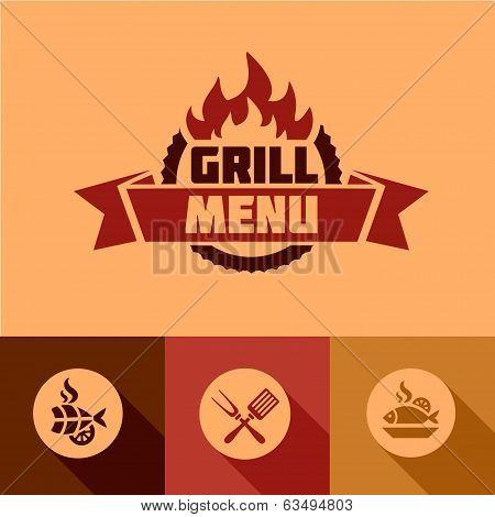 flat grill menu design elements
