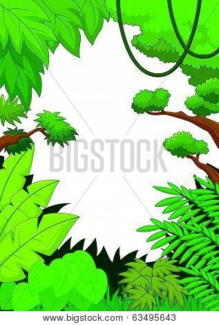 Tropical jungle cartoon background