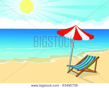 Cartoon Beach chair and umbrella on tropical beach
