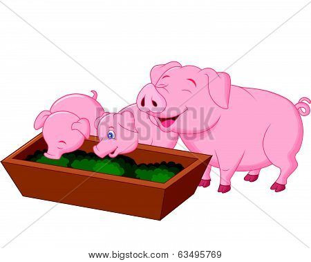 Happy farm pig family cartoon