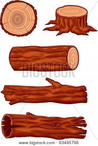 Wooden log cartoon collection
