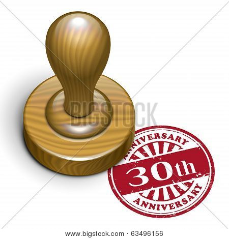 30Th Anniversary Grunge Rubber Stamp