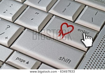 Heartbleed Exploit Concept Mouse Cursor Pressing Enter Key On Metallic Keyboard