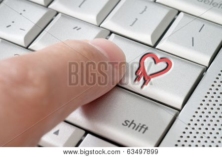 Online Exploiting Heartbleed Bug Concept With Finger On Laptop Keyboard