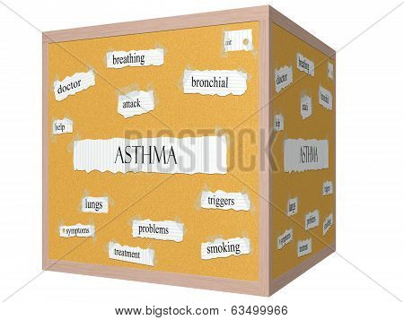 Asthma 3D Cube Corkboard Word Concept