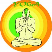 picture of kundalini  - Hand drawn illustration about the handsome yogi playing asanas positions - JPG