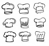 picture of pastry chef  - vector black Chef hat icon on white background - JPG