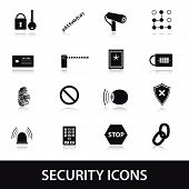 pic of combination lock  - security and safery black icons set eps10 - JPG