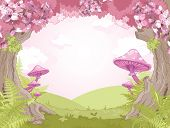 picture of fairy-mushroom  - Fantasy landscape with mushrooms and trees - JPG