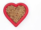 Brown Lentils in Red Heart