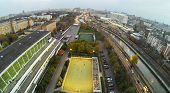 MOSCOW - OCT 11: View from unmanned quadrocopter to football playground in front the Moscow State Te